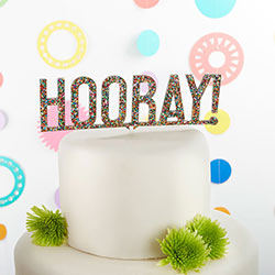 Hooray Multicolor Glitter Acrylic Cake Topper