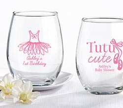 Personalized 9 oz. Stemless Wine Glass - Tutu Cute