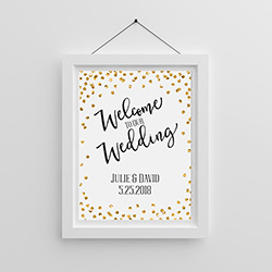Personalized Poster (18x24) - Gold Glitter Wedding